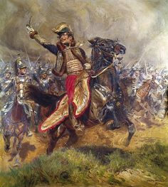 Jean Baptiste Edouard Detaille (1848-1912) - Général Antoine Charles Louis Lasalle (1775-1809). Oil on Canvas. Circa  1912. A Painting of the General's Charge just Before his Death...