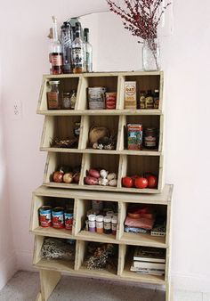 unique kitchen/pantry storage. could also be incredibly cute in a baby's room.