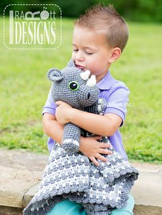 Ravelry: Riley Rhino the Rhinoceros Snuggle Blankey by Ira Rott