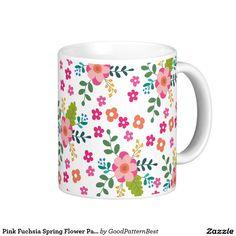 Pink Fuchsia Spring Flower Pattern, Girly Floral Coffee Mug