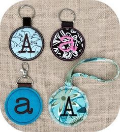 Monogram Round Key Chain Machine Embroidery by EmbroideryGarden, $12.00