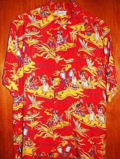 Vintage 1940s Rayon Hawaiian Shirt by Hale Hawaii