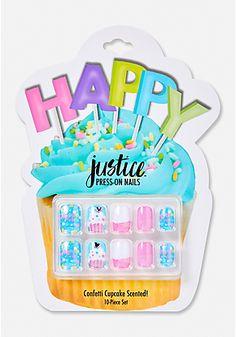Justice Confetti Cupcake Press On Nail Set (favors)<br> Fake Nails For Kids, Nail Art For Girls, Flower Nail Designs, Nail Designs Spring, Nail Polish Sets, Nail Set, Baby Girl Toys, Toys For Girls, Confetti Cupcakes