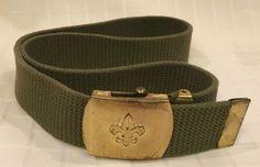 VTG Genuine Boy Scouts of America Brass Buckle Army Green Web Belt