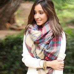 Womens Scarf Fashionable Blanket Winter Warm Colorful Plaid Thickening Square #Unbranded #Scarf