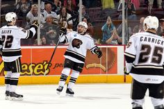 12.05.14 - Hershey Bears player, Chris Conner, celebrating his goal.  Photo courtesy of JustSports Photography