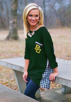 Gameday Couture - Baylor Bears women's 3/4 sleeved oversized T-shirt // This would be so absolutely cute for football games!