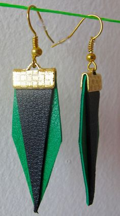 Earrings leather green and black by MerciJosephine on Etsy