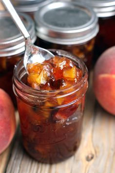 "Homemade Peach Chutney is like ""Fall"" in a jar! It's very easy to make and preserve and tastes amazing over chicken, pork or fish. Recipe on TastesBetterFromScratch.com"