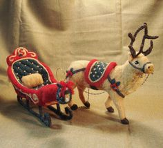 Reindeer and Santa's Sleigh Needle Felted Soft Sculpture by Bella McBride of McBride House