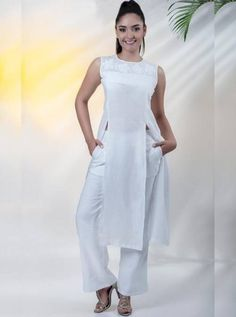 CONJUNTOS Y VESTIDOS - PRIMAVERAL Bordados y Accesorios Looks Jeans, Summer Collection, Jeans Pants, Spring Summer Fashion, Casual, Kimono, White Dress, Dresses For Work, Chic