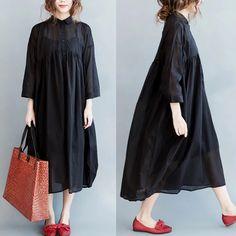 Women Clothes,Casual handmade Dresses,Fashion Linen Plus Maxi Clothing Mori Fashion, Asian Fashion, Hijab Fashion, Fashion Dresses, Womens Fashion, Dress Skirt, Dress Up, Moda Casual, Black Party Dresses
