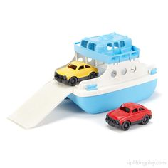 Toy Ferry Boat With Cars, Floats - FRBA-1038 - Buy Boat Toys for Kids $25.00 — Your child will enjoy chugging along with this tugboat. Made in the USA from BPA free recycled plastic. | Free Shipping on Qualified Orders - Read Review #kidstoys #artsupplies http://upliftingplay.com/toy-ferry-boat-with-cars-frba-10388