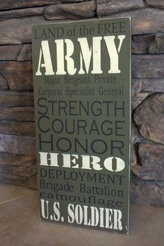 For my nephew Chris and his wife Army Decor. Military Signs, Army Mom, Army Life, Military Wife, Us Army, Army Sister, Military Crafts, Army Bedroom, Military Bedroom