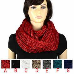 Sequins yarn knitting winter infinity warm scarf endless hood 120cm lot NL2054