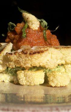 Vegan Cauliflower Steaks with Broccoli Pesto and Maranara