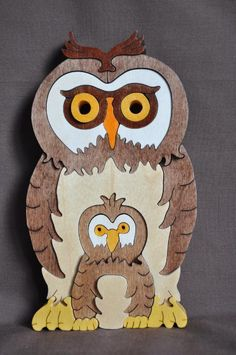 Owl with Baby 3D  Puzzle Wooden Toy Hand Cut with by Puzzimals