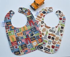 2 New York City bibs  #NYC baby bibs triple by TextileTrolley, $18.00