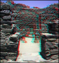 Doorway at Aztec Ruins National Monument, New Mexico. *** stereo anaglyph 3-d