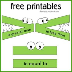 Math Concepts Series: FREE Printables and Ideas for Teaching Greater Than Less Than - Homeschool Giveaways Math Classroom, Kindergarten Math, Teaching Math, Teaching Time, Teaching French, Teaching Spanish, Google Classroom, Classroom Themes, Math For Kids