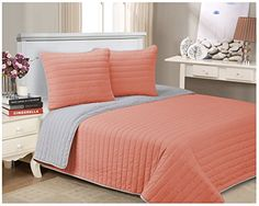 Impressions 100% Cotton, Soft, Full/Queen, Brandon Striped Quilt Set, Pink