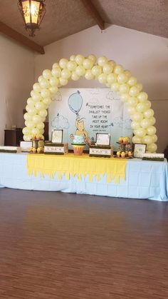 Baby Shower Decorations 296604325463662859 - Winnie the Pooh Baby Shower Party Ideas Fiesta Baby Shower, Baby Shower Table, Baby Shower Fun, Shower Party, Baby Shower Parties, Winnie The Pooh Themes, Winnie The Pooh Birthday, 1st Boy Birthday, Cute Winnie The Pooh