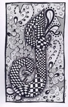 Letter I ZebrA Letters name bunting zentangle by ForeverTangles, £3.50