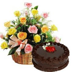 Basket Of 15 Yellow And Pink Roses With 05 Kg Chocolate Cake Flower Shop Dubai