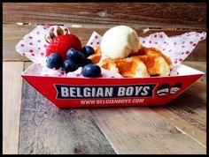Belgian BoysTM Liege Waffle with a scoop of vanilla ice-cream & fresh berries www.belgianboys.com