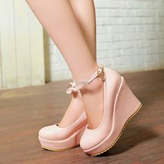 Mori Girl Clothing Shoes on Mori Girl の森ガール.Mori Crushes Bowknot Wedge Shoes Korean Sweet Heels make you more charming in the date .