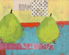 Pair of Pears - collage and paint.
