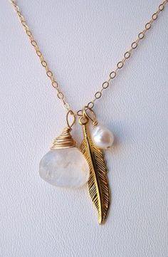 Boho Moonstone and Pearl Charm Necklace ... more #fashion: http://pinterest.com/mtfashional/