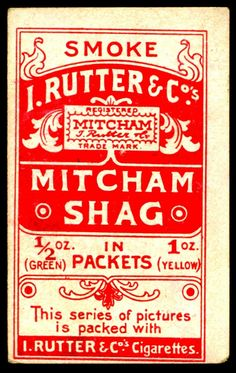 """Cigarette Card Back - Rutter's """"Actresses"""" 