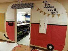 Super cute idea for classroom door.