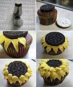 Cupcakes con forma de girasol.