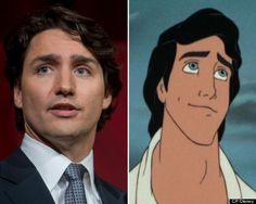"Justin Trudeau and Prince Eric from ""The Little Mermaid"" Justin Trudeau, Pm Trudeau, All About Canada, Justin James, Canadian Girls, Prince Eric, Media Literacy, Popular People, Disney Princes"