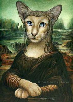 Siamese Cat Print Mona Kitty by Irina Garmashova Portrait Art, Pet Portraits, Siamese Cats, Cats And Kittens, Monalisa, Lots Of Cats, Watercolor Animals, Crazy Cat Lady, Dog Art
