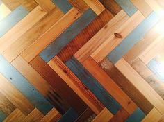 Reclaimed herringbone at Digg Inn Madison Square Park#restaurant design #new York city #reclaimed wood wall