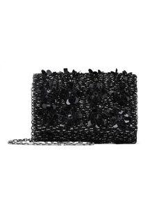 Black Embroidered Satin DeDe Bag with Swarovski Crystals