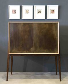 Dutch Cabinet, Walnut base, Oak Cabinet and Brass doors with a Dutch Blue Interior -  by Leonard de Villiers for EBONY