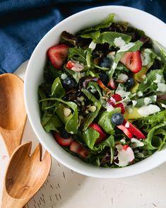 Strawberry-Blueberry Salad with Lime Yogurt Dressing - Five Strawberry Recipes for Spring - www.southernladymagazine.com