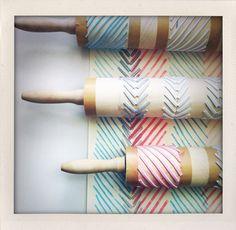 DIY stamping with rolling pins (made me think of you @Fran Larkin Larkin Baas!)