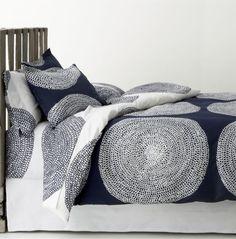 Master bedroom Marimekko Pippurikera Navy Bed Linens in Duvet Covers Navy Bedding, Linen Bedding, Bed Linens, Duvet Sets, Duvet Cover Sets, White Duvet Covers, New Beds, Marimekko, Dorm Decorations