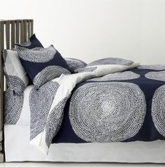 Marimekko Pippurikera Navy Bed Linens  | Crate and Barrel