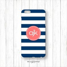 Personalized iPhone 6 case, 6+, 5, 5s, 5c, 4, 4s, Galaxy, s5, s4, s3, 3d, case, stripes, navy, blue, coral, monogram, monogrammed, custom