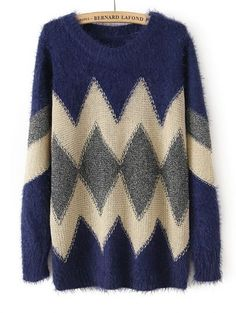 Navy Long Sleeve Geometric Pattern Knit Sweater - Sheinside.com Mobile Site