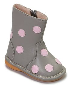 Loving this Gray & Light Pink Polka Dot Squeaker Boot on #zulily! #zulilyfinds