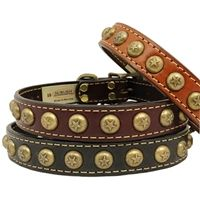 Leather dog collars for medium to large dogs with brass star studs and antiqued brass hardware. Matching leash available. Leather Dog Collars, Cat Collars, Collar Designs, Studded Leather, Large Dogs, Studs, Cerberus, Brass Hardware, Boutique