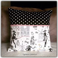 """Housse de coussin chic """"la parisienne"""" N°1 et tissu noir à pois : Textiles et tapis par nymeria-creation"""