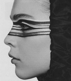 black and white makeup, model